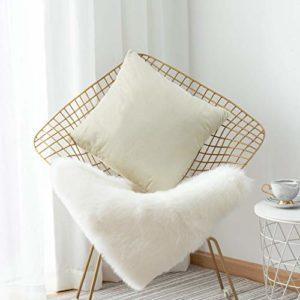 Home Brilliant Taie d'oreiller décorative en Velours côtelé à Rayures, Velours, V|Pearl Ivory, 26″x26″