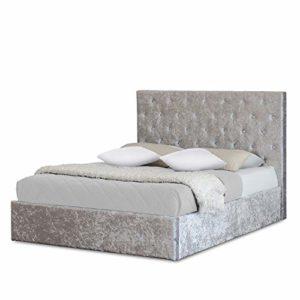 Lit double moderne en velours écrasé argenté avec tête de lit