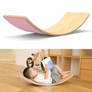 lxfy Planche d'équilibre en Bois, Planche Waldorf Kinder, Planche d'équilibre Wobbel, Jouet d'équilibre pour Enfants Curvy Board, Wobble, Spin, Rock, Slide