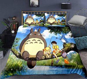 MEIPINPAI Totoro Ensemble de Literie Housse de Couette ,2Taie d'oreiller Parure de Lit 3 Pièces-Anime_GB-Super_King260cm×220cm