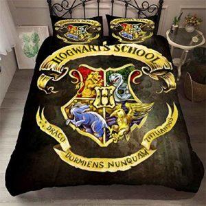 NICHIYO Harry Potter School of Magic – Parure de lit avec housse de couette et taie d'oreiller en microfibre, impression 3D, 11, King 220x240cm