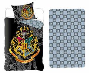 Setino Parure de lit Harry Potter 3 Pièces 100% Coton – Housse de Couette 140x200cm + Taie d'oreiller 63×63 cm + Drap-Housse