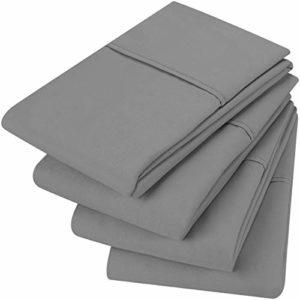 Utopia Bedding Taies d'oreiller (Lot de 4) – Tissu Microfibre Brossé Doux Facile d'entretien – Résistant au Rétrécissement et à La Décoloration (Gris, 50 x 75 cm)