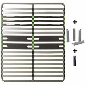AltoZone – Pack Sommier 2×16 Lattes 140x190cm + Pieds Gris + Pied Central