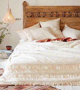 Blanc Housse de couette Coton à franges Tassel Boho avec housse de couette Marocain 96inL*104inW blanc