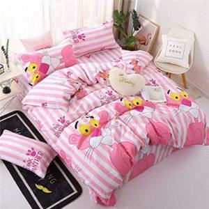 Couette linge de lit en coton d'impression numérique literie une famille de quatre super lavable doux et confortable,E-180×220 cm