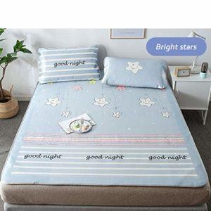 CPPI-1 Tapis de climatisation en soie glacée, linge de lit d'été en soie glacée, étoiles bleues et blanches, 1 taie d'oreiller, jupe de lit pliante, artefact de refroidissement d'été, 0.9m bed