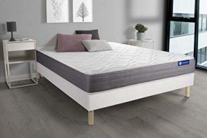 Ensemble Matelas ACTIMEMO Dream mémoire de Forme 140×190 cm 5zones de Confort + sommier KIT Blanc – Epaisseur : 22 cm – Confort : Mi-Ferme