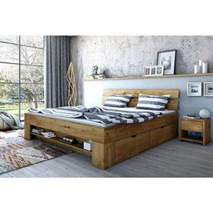 Futonbett Sara Lit futon avec 4 tiroirs en chêne massif huilé 180 x 200 cm