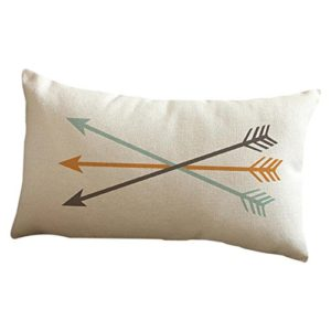 Iusun Arrow Coton Lin rectangle Couvre-lit décoratif Taie d'oreiller Housse de coussin, E, 12X20″