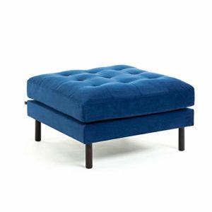 Kave Home Debra Pouf en velours Bleu 80 x 80 cm
