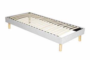King of Dreams Adrien – Solide et Confortable Sommier Tapissier + Pieds en 18 cm – 80×190-13 Lattes – Montage Rapide et Facile – epaisseur du Metal +/- 1,2 mm