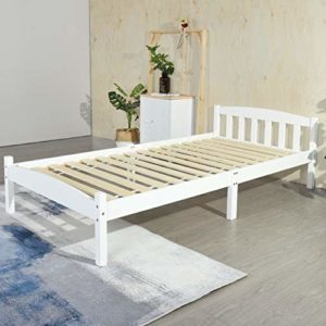 LiePu Lit Simple Cadre de Lit en Bois Massif avec Sommier en Lattes, Lit 1 Personne pour Enfants Adultes, 90 x 190 cm, Blanc