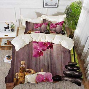 Literie – Ensemble de housse de couette, Décor de spa, Spa Orchid Flowers Rocks Bamboo Style asiatique Aromathérapie Massage Therapy Deco, Ensemble de housse de couette en microfibre hypoallergénique