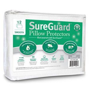 Lot de 2Sureguard Taie d'oreiller protecteurs–100% étanche, punaises de lit, hypoallergénique–Premium à fermeture Éclair éponge coton couvertures–10ans de garantie, Coton doux, blanc, Body