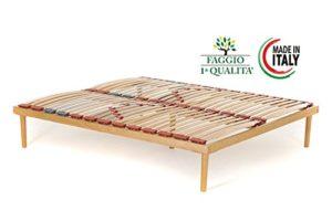 Materrassimemory.eu – Modèle « Dynamic » – Sommier en bois de hêtre, avec lattes amorties et régulateurs de rigidité pour la zone lombaire 165×190