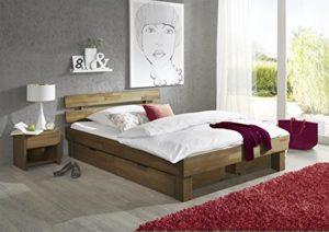 Moebelstore24 JENY Lit futon en chêne massif huilé 180 x 200 cm avec 2 tiroirs de lit et 2 tables de nuit