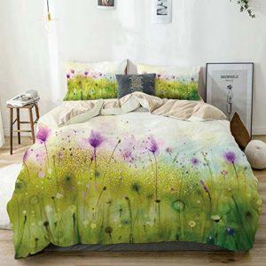 Parure de lit,Beige,Résumé Vue floue de Fleurs de Cosmos Violet Blooming Meadow,1 Housse de Couette 240×260 + 2 Taies d'Oreillers