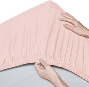 Pinzon Lot de 2 draps-housse en coton biologique 300 fils – 70x140 cm, Rosé