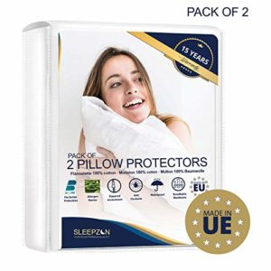 ⭐ Protège Oreillers Imperméables 40x70cm – Set de 2 – Molleton 100% Coton Bi-ome, Sous Taie Oreiller – Fermeture Zip – Anti-acarien, Antibactérien, Anti-moisissure et Hypoallergénique- Garantie 15 ans