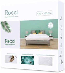 Recci Protège-matelas en bambou 180 x 200 cm Blanc
