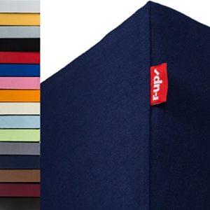 R-up Drap-housse 140 x 200 – 160 x 220 à 35 cm – Plusieurs couleurs – 95 % coton, 5 % élasthanne 230 g/m² – sans stress – également pour 160 cm de large., bleu foncé, Doppelpack 140×200-160×220