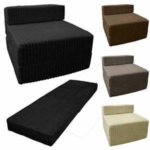 Saphir Jumbo Cordon Z Lit en tissu pliable simple Z Lit simple portable futon pour chambre à coucher, dortoir, canapé, salon, crème, Simple