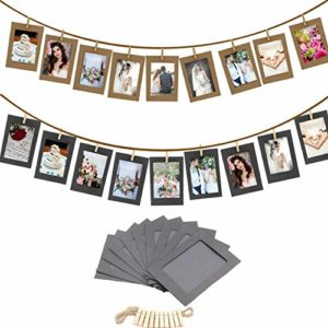 SJYM 10Pcs DIY Kraft Paper Photo Frame 3/5/6 inch Hanging Wall Photos Picture Frame Kraft Paper with Clips and Rope, White, 5inch