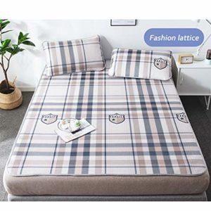 Tapis d'été en soie glacée, draps de lit pour lit bébé beige bleu grand treillis, pliable, lit simple, double, king size et 1 taie d'oreiller, matelas lavable pour bébé, 1.8m (6 feet) bed