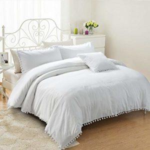 USTIDE Parure de lit 3 pièces avec housse de couette et 2 taies d'oreiller 100 % coton brossé, Coton, blanc, Super king size