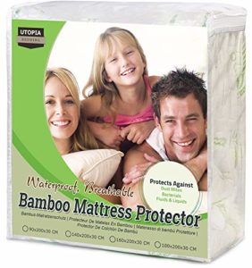 Utopia Bedding Protège Matelas en Bambou Imperméable – Drap Housse avec Bonnet Rabat 30 cm – Couvre Matelas (140 x 200 cm)
