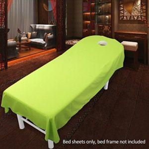 VerneAnn Drap de salon Housse de table douce lavable en machine Article de literie uni en microfibre de polyester massage spa maison confortable et résistant aux plis 120 x 190 cm Vert