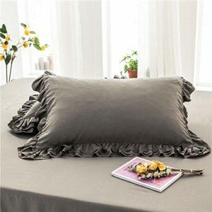 Xnxn 2pcs Mignon Doux Pillowcasses Fermeture De L'enveloppe,Dentelle De Coton Lavée Protège-oreillers,Antifouling Respirable Housse d'oreiller Décoration à La Maison Gris 48x74cm(2 Pc)