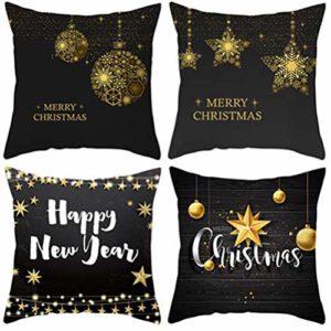 YYXLL Ensemble de 4, 18 x 18 Pouces Housse de Coussin série Noël Housse de Coussin Noir Oreiller avec taie d'oreiller carrée zippée pour la décoration de canapé à la Maison,D