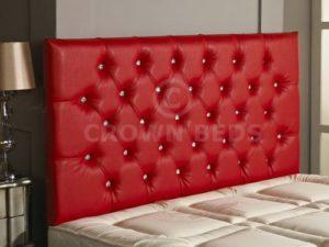 CrowNBEDSUK Tête de lit en Similicuir avec Strass Rouge 1,8 m