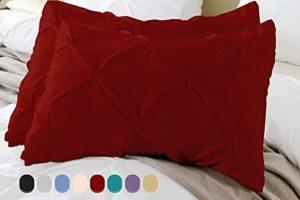 Devi Bedding Lot de 2 taies d'oreiller et taies d'oreiller plissées 100 % coton égyptien 500 TC Design décoratif doux Moderne Oversized King bordeaux