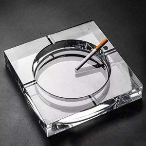 FEF Cendrier en Verre Cristal Noir/Or/Transparent Cendrier De Forme Carrée Accessoire De Fumer des Cigares, Transparent 13cm