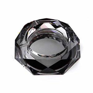 FEF Or Clair Noir Coloré Cendrier Rond en Cristal De 12 cm Cendrier en Verre, Noir