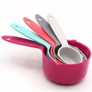 KinshopS Lot de 5 cuillères doseuses en plastique colorées pour instruments de cuisson