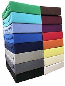 Leonado Vicenti Drap-housse classique 100 % coton jersey de qualité supérieure certifié Öko-Tex Standard 100, bleu, 120 x 200 cm – 130 x 200 cm
