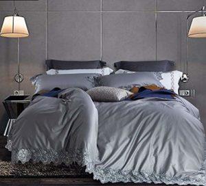 YIEBAI, Housses de couette 4 pcs ensembles de literie coton égyptien drap de lit housse de couette taie d'oreiller princesse déesse Style 650TC dentelle dentelle conception, gris, grande taille