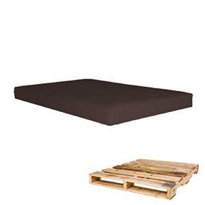 Arketicom Pallett-One, Coussin d'assise pour canapé en palette, en polyuréthane haute densité et revêtement déhoussable en similicuir, disponible dans plusieurs dimensions et couleurs, 100% fabriqué artisanalement en Italie 120x80x10 marron