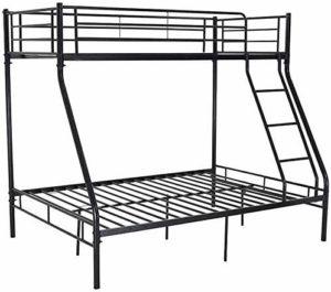 Cadre de plaque métallique Idéal double double espace de couchage confortable pour trois petites maisons,Black