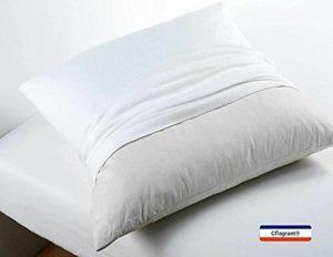 Cflagrant® Protège Oreiller 100% coton gratté – traité anti-acariens – molleton – blanc – 63×63 cm