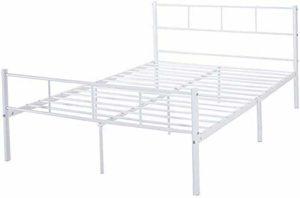 Chambre double élégant cadre de lit métallique moderne stable et enfants adultes robustes,White