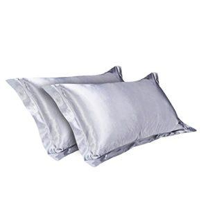 CHRISLZ 2pcs taie d'oreiller en soie Standard 50 * 75CM soyeux doux & Ride libre de couleur Pure soie taie d'oreiller sans fermeture à glissière (gris)