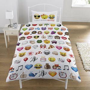 Emoji Parure 1 personne housse de couette 137×198 cm + taie d'oreiller 50 X 75 cm