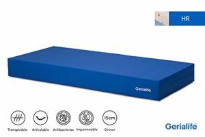Gerialife® Matelas gériatrique articulé pour hôpitaux | 15 cm de Mousse HR | Housse sanitaire étanche (105×190)