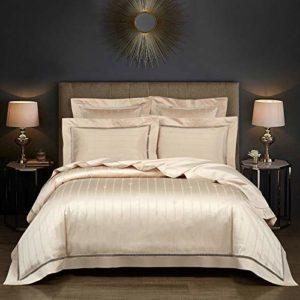 HanPaint Consolateur Pure Color Beddig Sets 100% Cotto Bedsheet Quilt Jacquard Housse de Couette 4Pcs Article Drap de lit The Duke 4pcs for 1.8m Bed