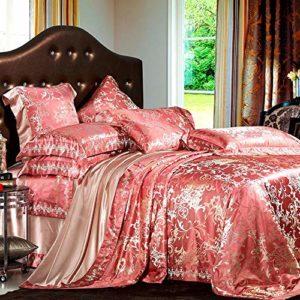 JIAMIJ Soie Soie Quilt Cover Sheets Wide Jacquard Literie De Mariage Quatre Pièces Soie